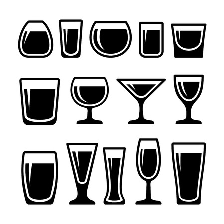 shot glass: Set of different 14 drink glasses icons