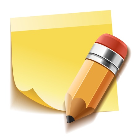 Realistic yellow stick note and detailed pencil. Vector photo