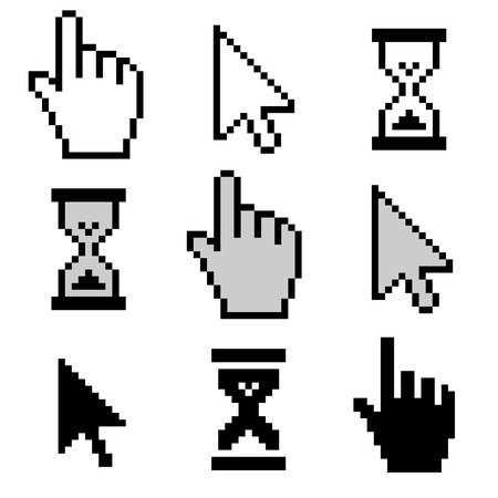 three points: Pixel cursors icons: mouse hand arrow hourglass. Stock Photo