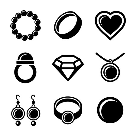 anillos de boda: Joyer�a de perlas Iconos de lujo establecidos. Ilustraci�n del vector.