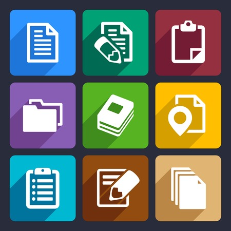 Documents and folders icons set for Web and Mobile Applications photo