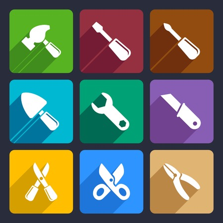 nipper: Working tools flat icon set for Web and Mobile Applications