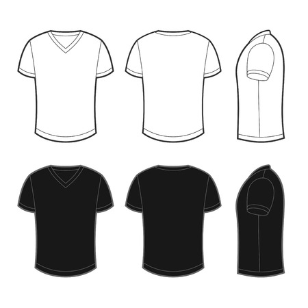 raglan: Front, back and side views of white and black blank t-shirt