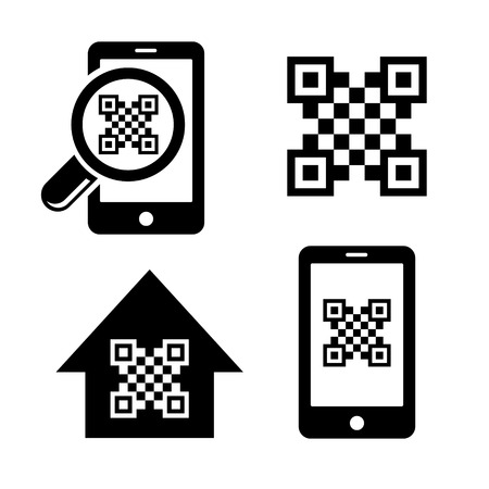 qr code: QR code icons scanner symbol set