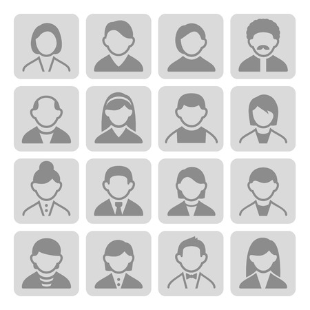 Family Icons and People Icons with Gray Background photo