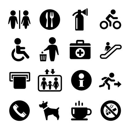 servicios publicos: Vector signos de servicio internacional conjunto de iconos: salida de café wc, la información