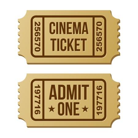 movie ticket: Retro cinema ticket on a white background.