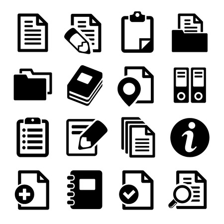 Documents and folders icons set. Vector illustration. illustration