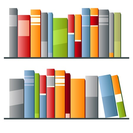 Books in a row on white background. Vector illustration illustration
