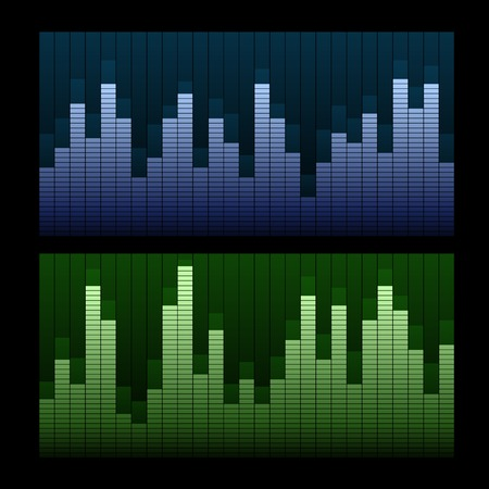 Equalizer vector background. Blue and green lines. photo