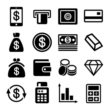 Money and bank icon set. Vector illustration. illustration