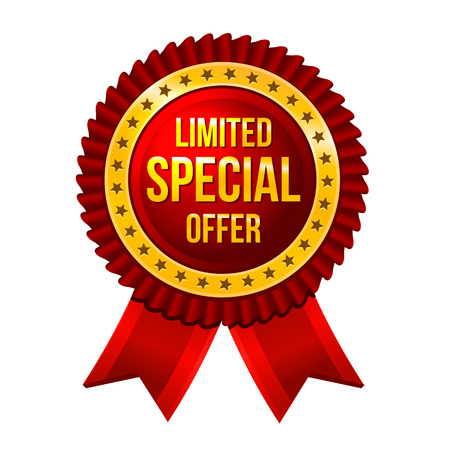 special service: Label Limited Special Offer with ribbons