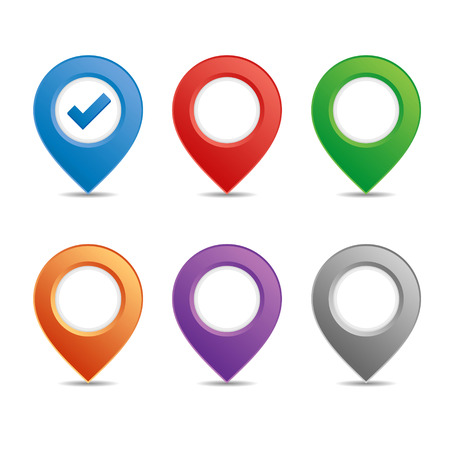red pin: Color pin set for maps Stock Photo