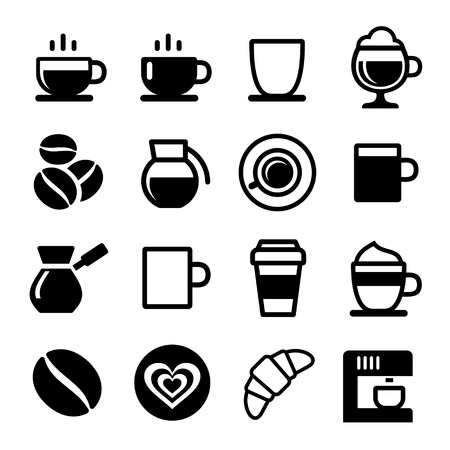 coffe beans: Coffee icon set on white. Vector illustration Stock Photo