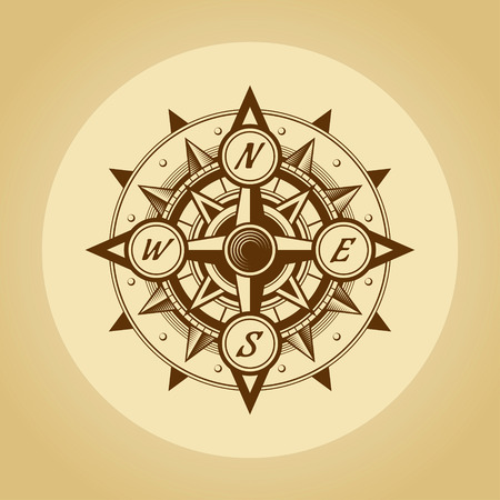 lost world: Wind rose in old retro style. Stock Photo