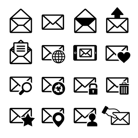 spam mail: Mail icons set on white. Vector illustration. Stock Photo