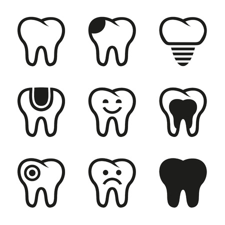 stomatology icon: Tooth icons set