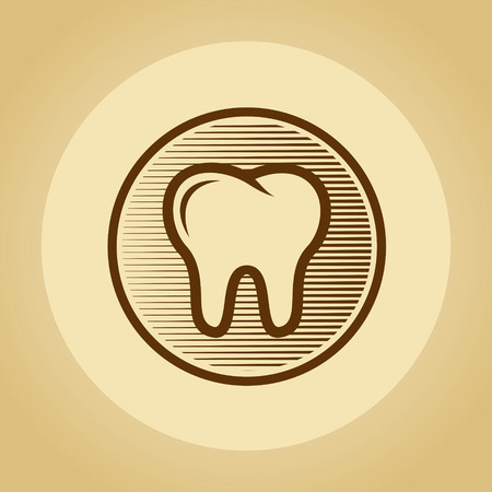 Tooth in retro style. photo