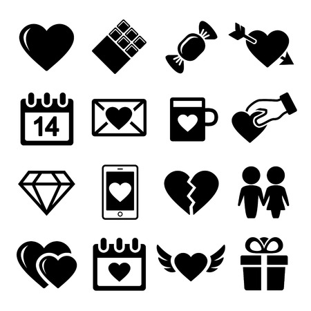 love declarations: Valentine day love icons set.  Vector illustration. Stock Photo