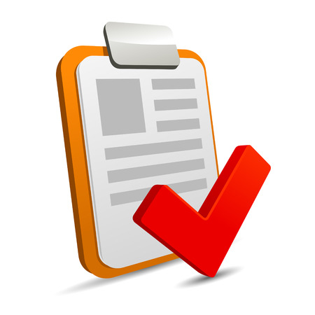 checklist icon: Clipboard with checklist on white background. Vector. Stock Photo
