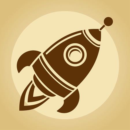 rocket ship: Vintage rocket in space Stock Photo