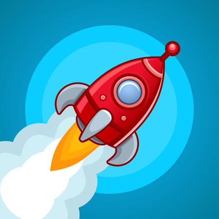 astrophysics: Fly rocket on blue sky Stock Photo