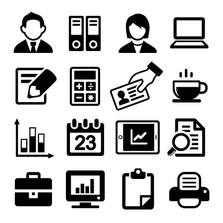accounting icon: Office Icons Set on White Background. Vector.