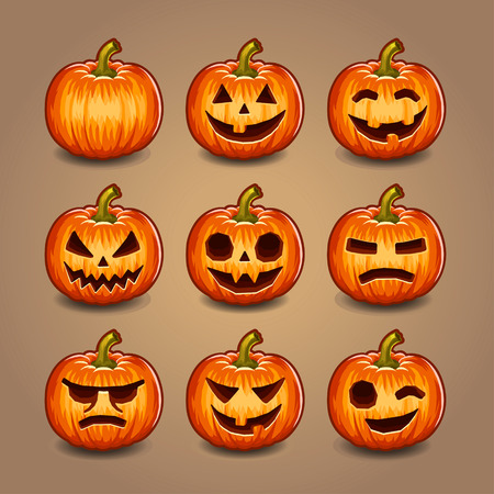 Halloween Pumpkins set. Vector. photo