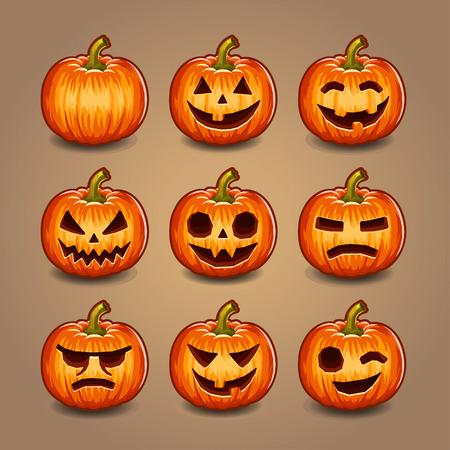 pumpkin face: Halloween Pumpkins set.