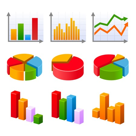 Infographic set with colorful charts. Vector illustration. illustration
