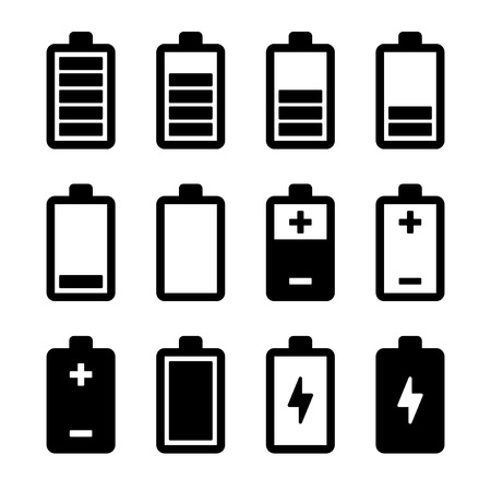 battery charger: Battery power icons set.