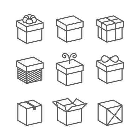 gift bow: Vector Gift Box Icons, Holiday Presents