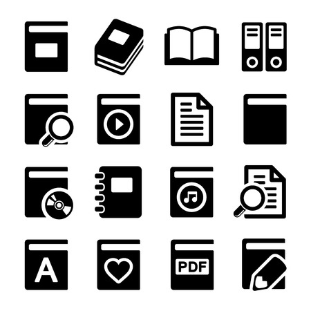 videobook: Book icons set on white background. Stock Photo