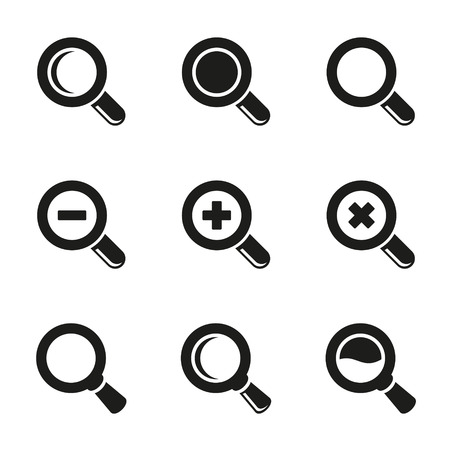 scrutiny: Magnifier Glass and Zoom Icons set