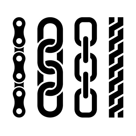 Metal chain parts icons set on white background.
