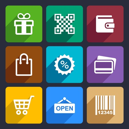 cash dispense: Set Flat pictogram supermarket services, Shopping Icons for Web and Mobile Applications