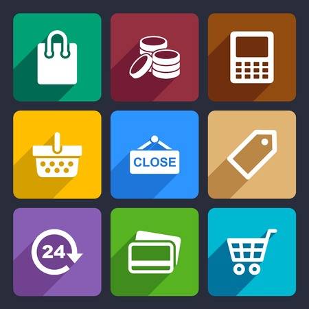 Set Flat pictogram supermarket services, Shopping Icons for Web and Mobile Applications photo