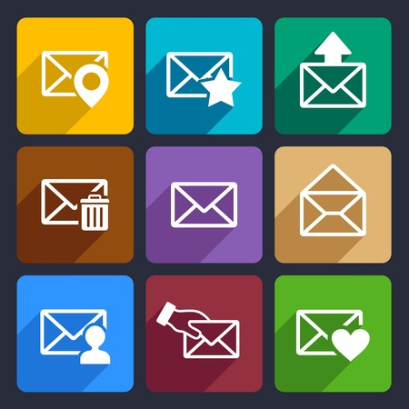 Mail Flat Icons Set for Web and Mobile Applications Stock Photo