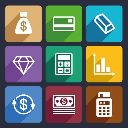 Money and bank Flat Icons Set  for Web and Mobile Applications photo
