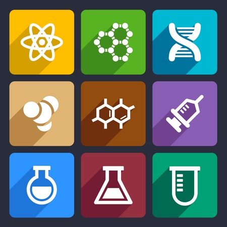 Chemical Flat Icons Set for Web and Mobile Applications photo
