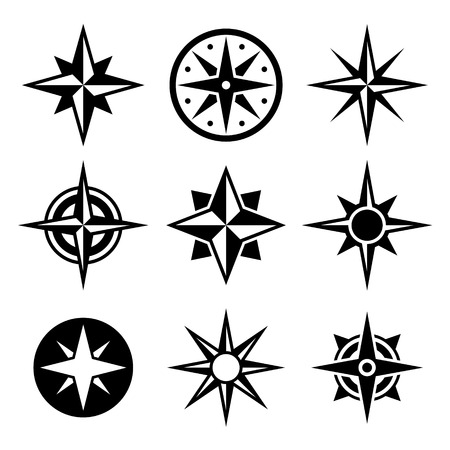 nautical equipment: Compass and wind rose icons set. Vector. Stock Photo