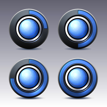 Blue button with digital timer. Vector. photo