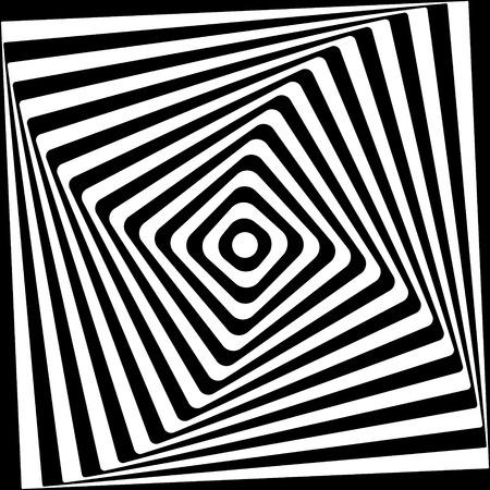 黒と白の抽象的な角形スパイラル パターン。ベクトル イラスト。