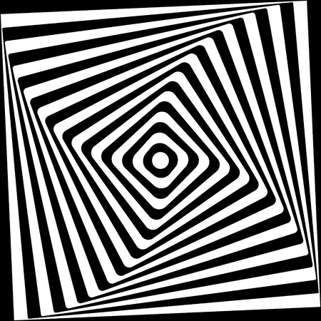 Abstract square spiral black and white pattern.