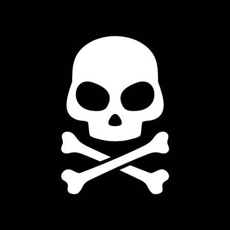 Vector skull on black background photo
