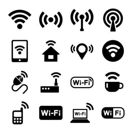 signal strenght: Wireless technology, WiFi web icons set. Vector. Stock Photo
