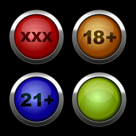 Xxx buttons icons set. Red, orange, blue and green. Vector. photo