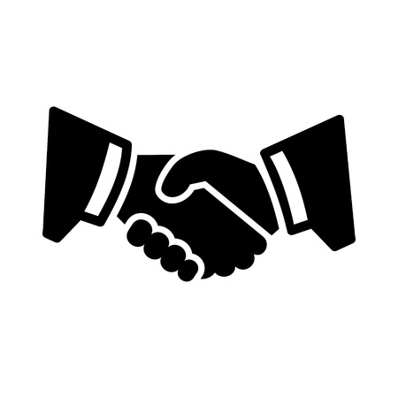 welcome business: Business Handshake Icon. Two mans hands in suits. Vector.