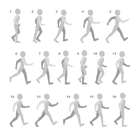 Phases of Step Movements Man in Walking Sequence for Game Animation. Vector Illustration. illustration
