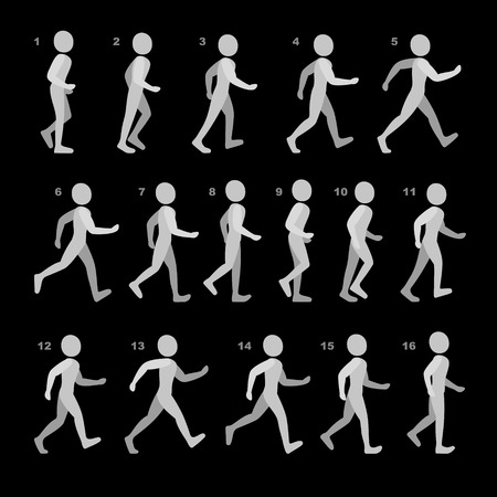 animation: Phases of Step Movements Man in Walking Sequence for Game Animation. Vector Illustration.